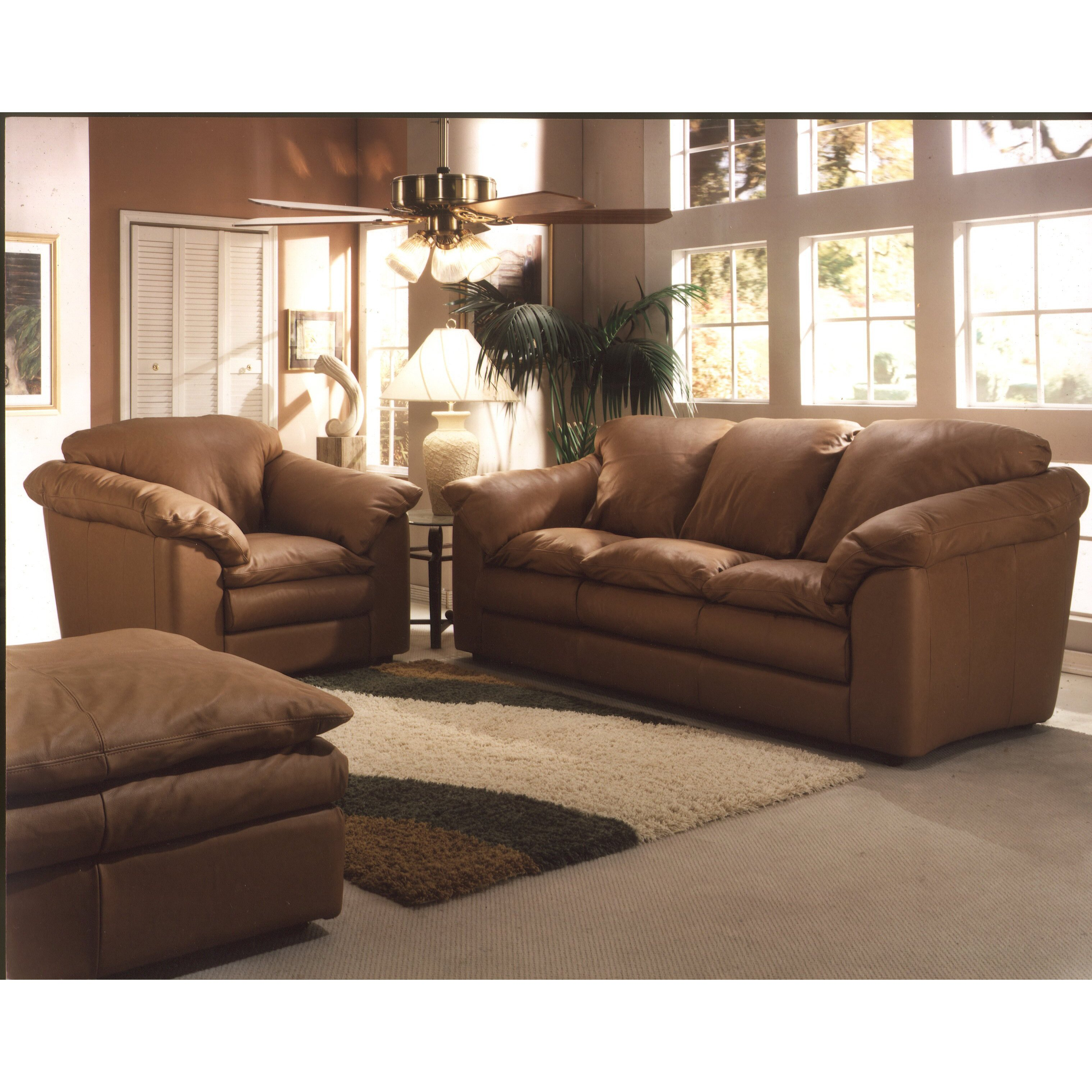 omnia leather oregon 3 seat leather living room set reviews wayfair. Black Bedroom Furniture Sets. Home Design Ideas