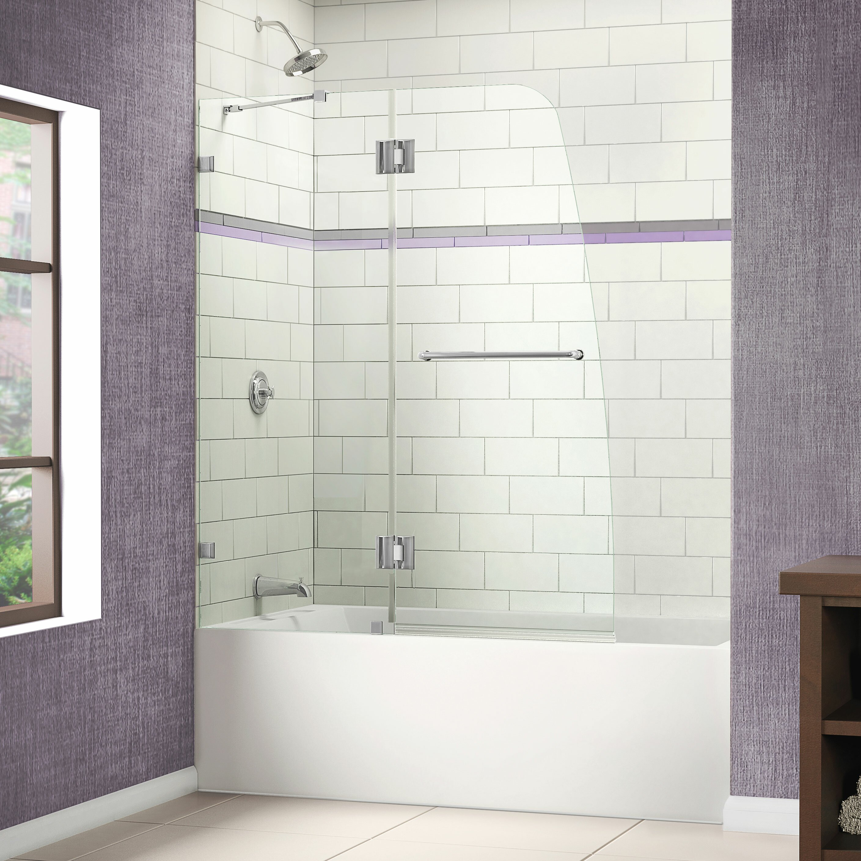 dreamline aqualux 48 quot x 58 quot pivot frameless hinged tub