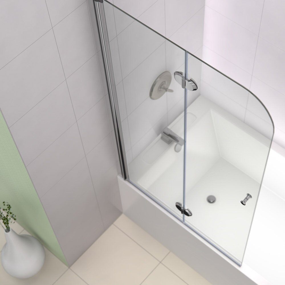 Dreamline aquafold 58 x 36 pivot hinged tub door with for Bathtub shower doors hardware