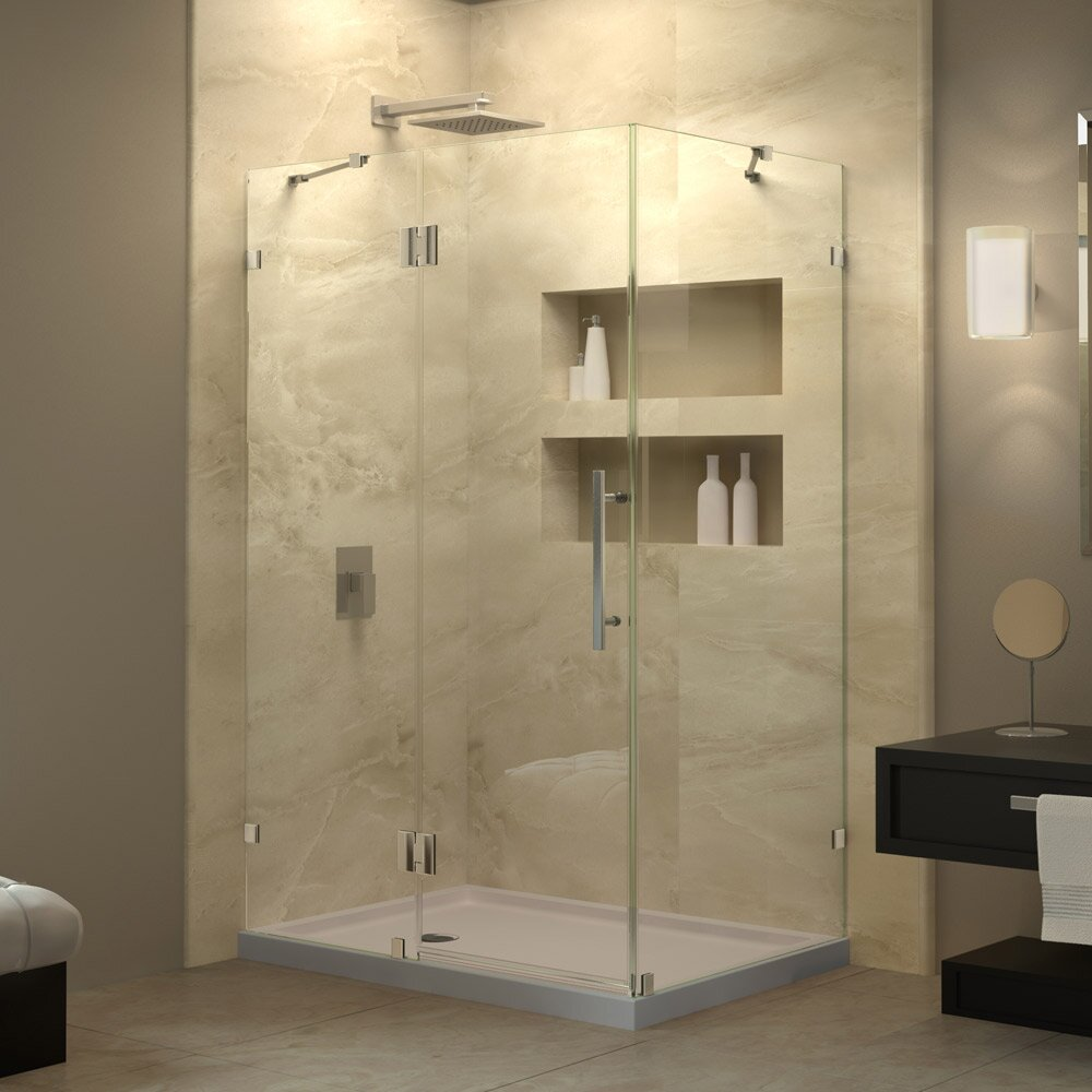 Dreamline quatralux 32 1 4 by 46 5 16 frameless hinged for Frameless corner shower enclosure
