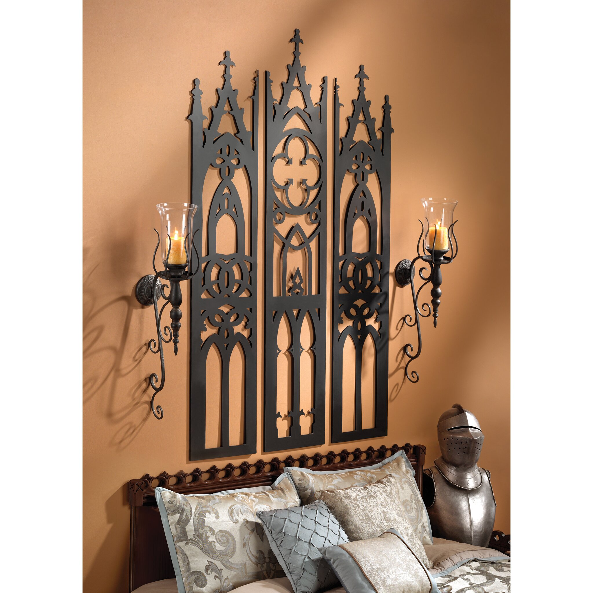 Design Toscano Gothic Cathedral Triptych Metal Wall
