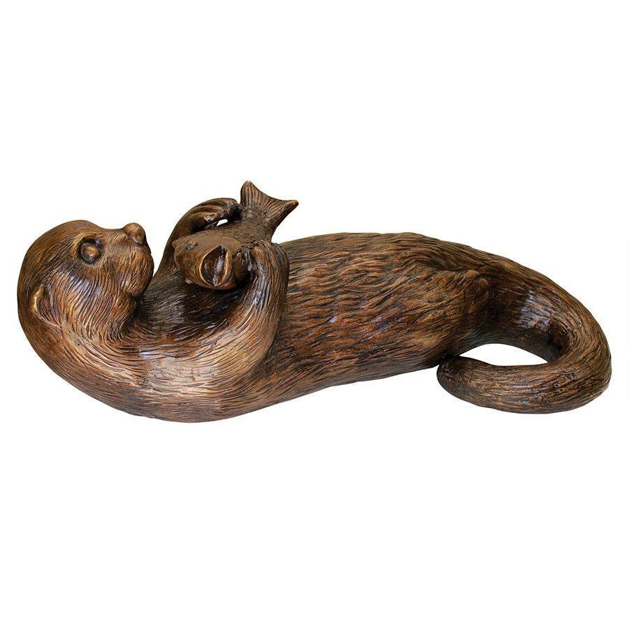 Design toscano lazy otter with fish garden statue wayfair for Fish garden statue