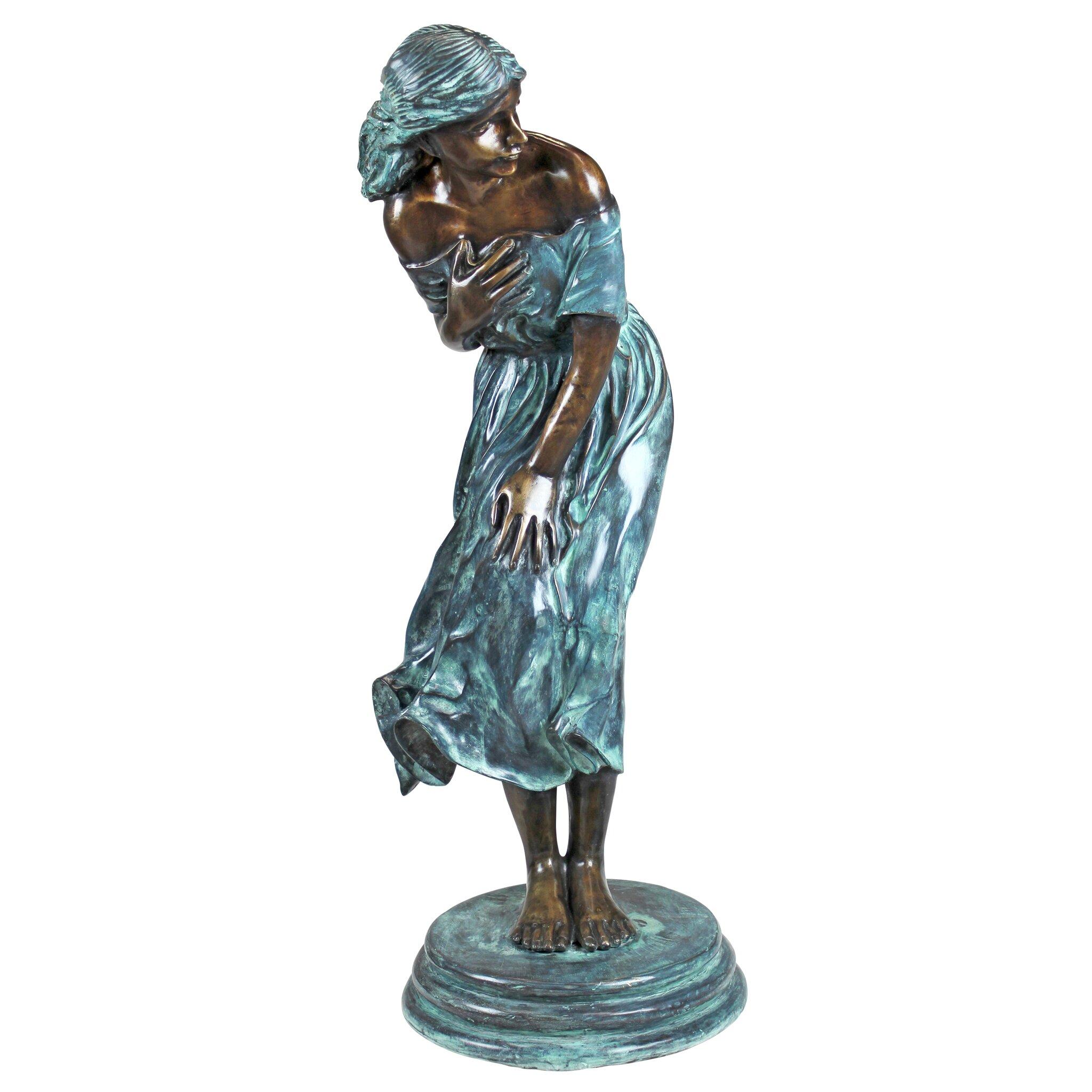 Design toscano the windblown maiden cast bronze garden for Design toscano