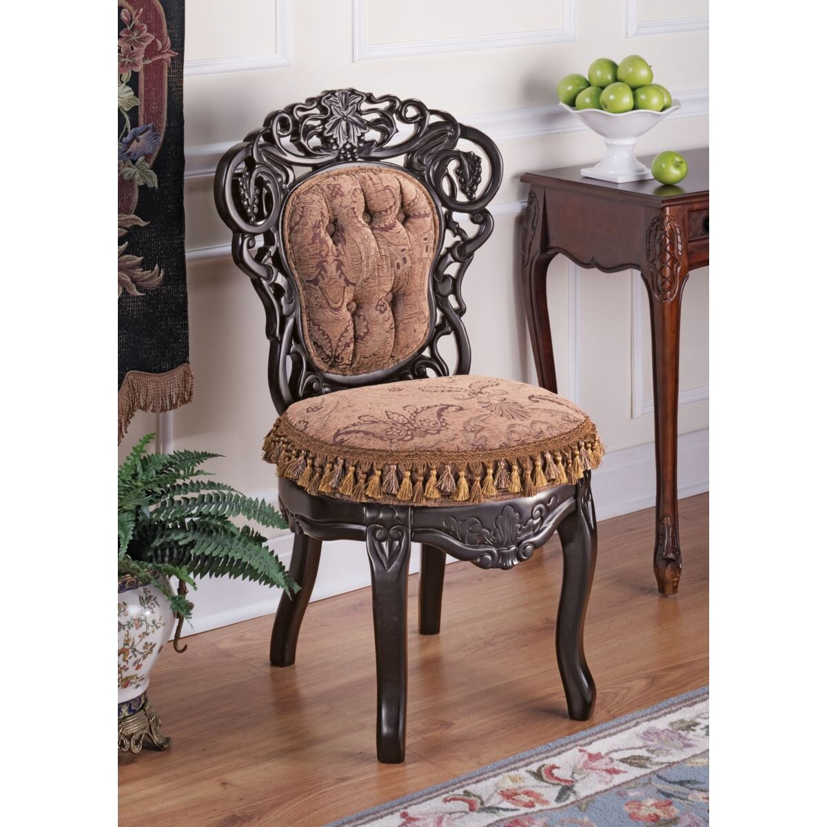 Design Toscano Victorian Parlor Fabric Side Chair