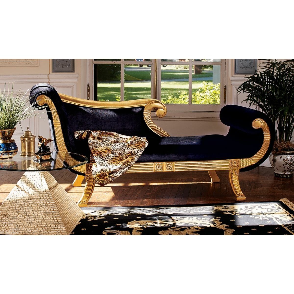 Design toscano cleopatra neoclassica fabric chaise lounge for The best furniture in the world
