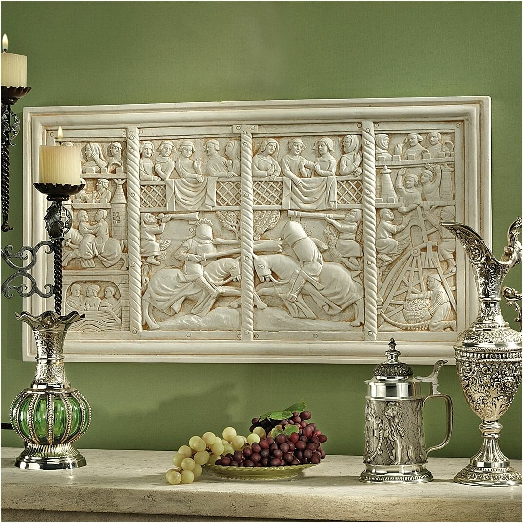 design toscano the medieval joust sculptural frieze wall