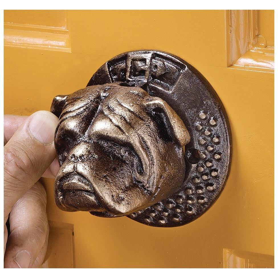 Design toscano bulldog authentic foundry iron door knocker reviews wayfair - Bulldog door knocker ...