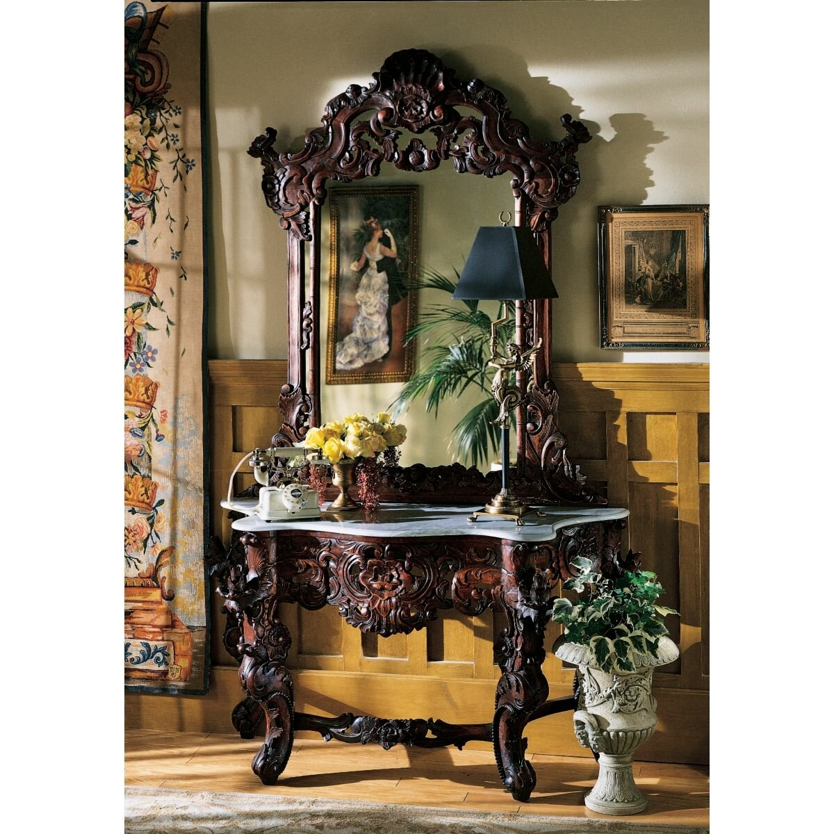 Entryway Foyer Console Table Amp Mirror Set : Design toscano hapsburg console table and mirror set