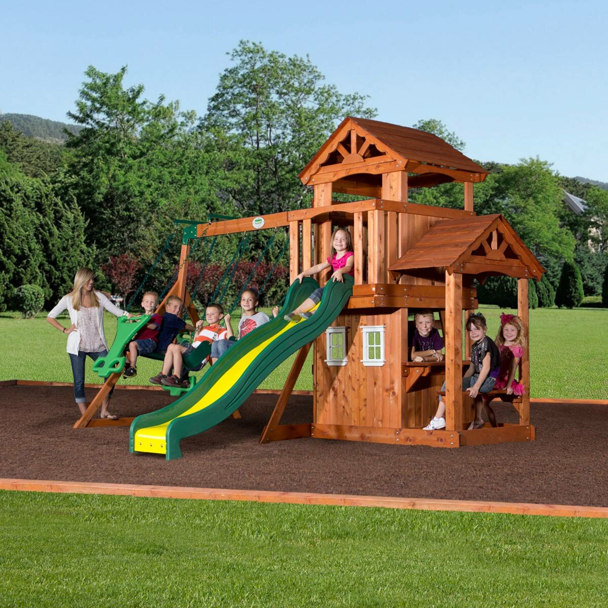 backyard discovery tanglewood all cedar swing set reviews wayfair