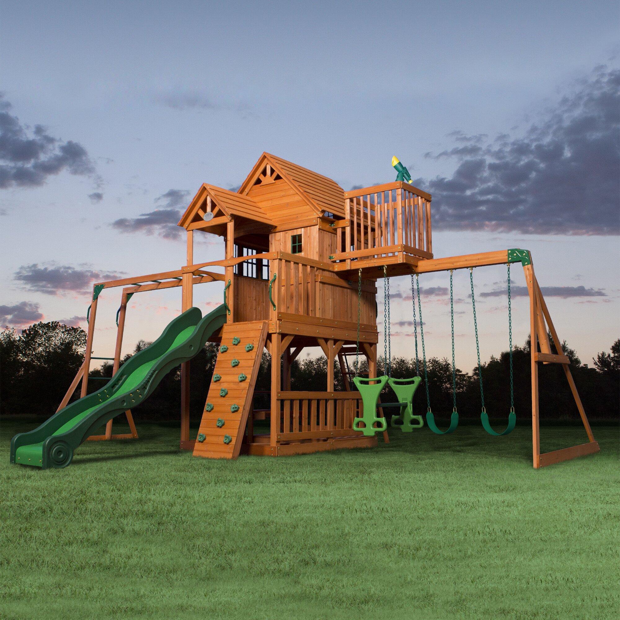 Backyard Discovery Skyfort All Cedar Swing Set & Reviews ...