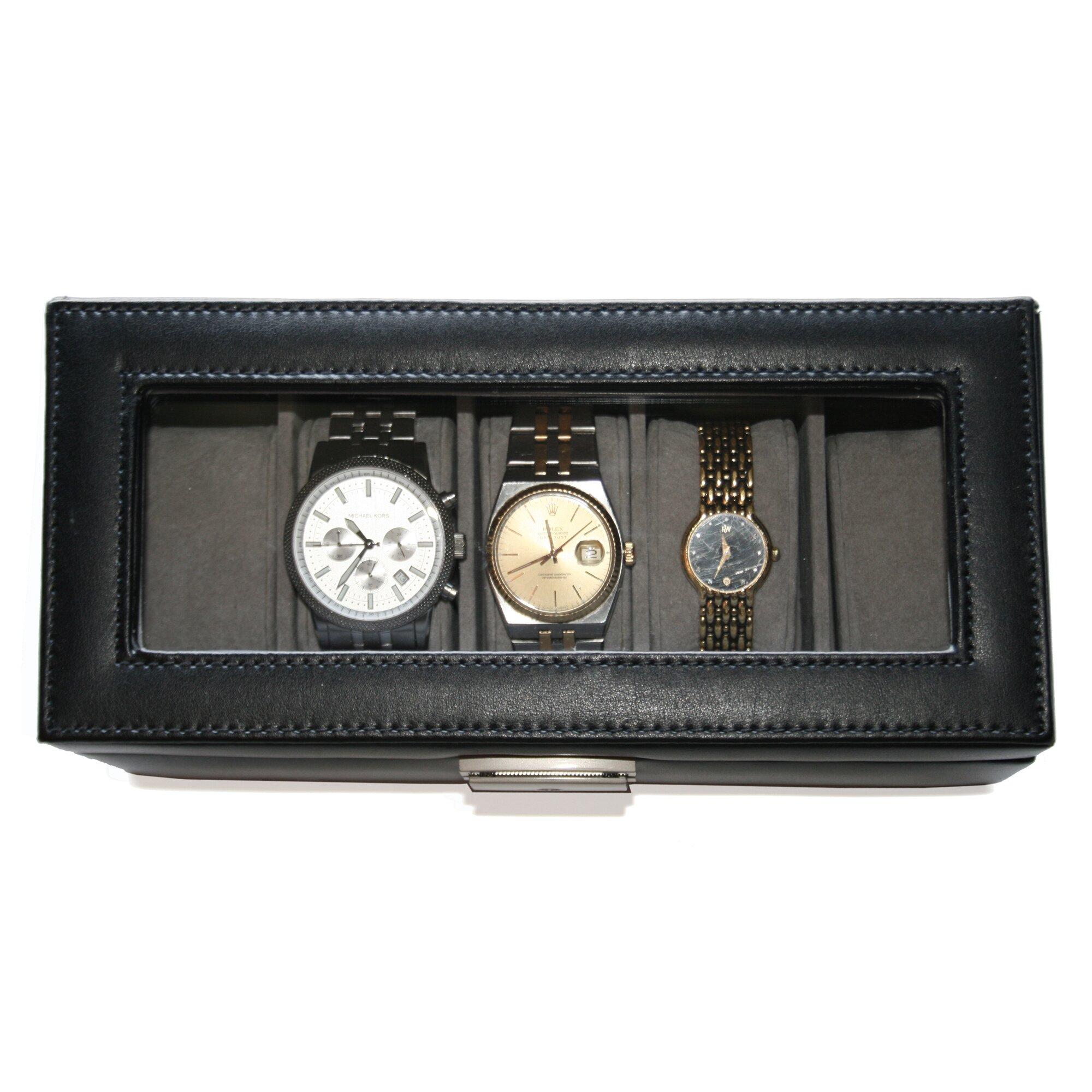 leather 5 slot watch box