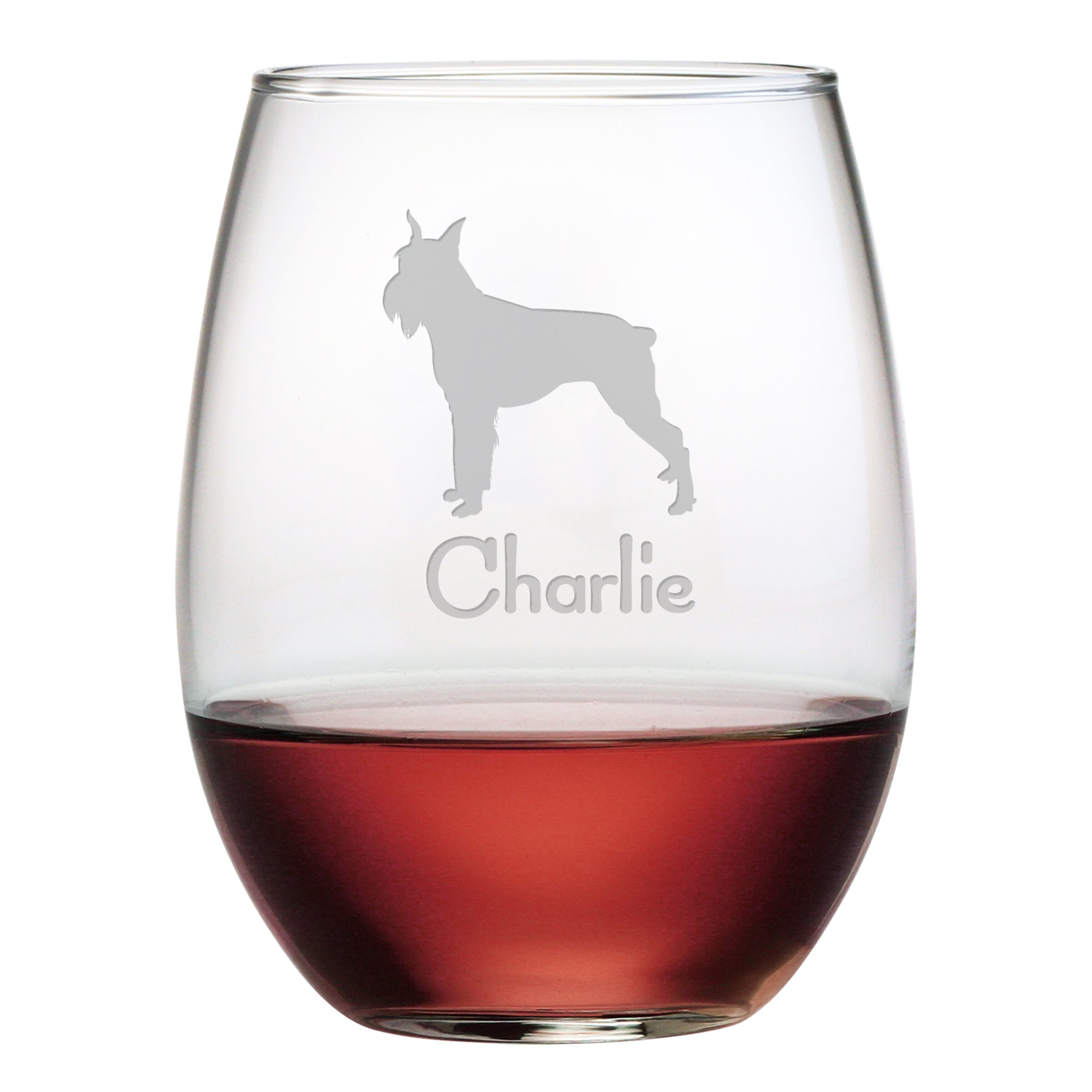 Susquehanna Glass Personalized Schnauzer 21 Oz Stemless