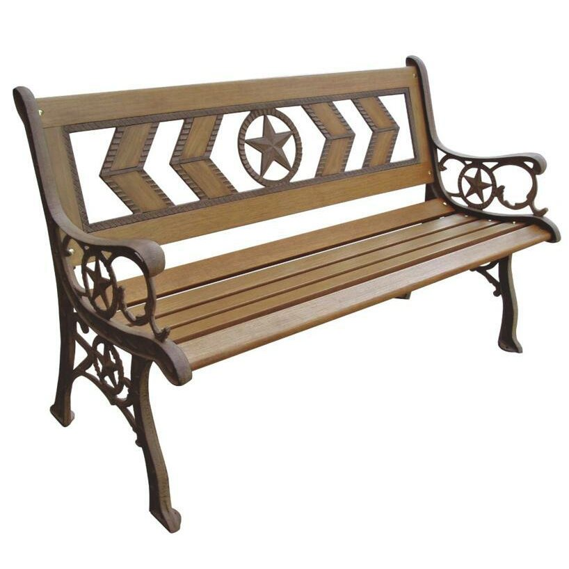 DC America Texas Wood and Metal Park Bench & Reviews | Wayfair