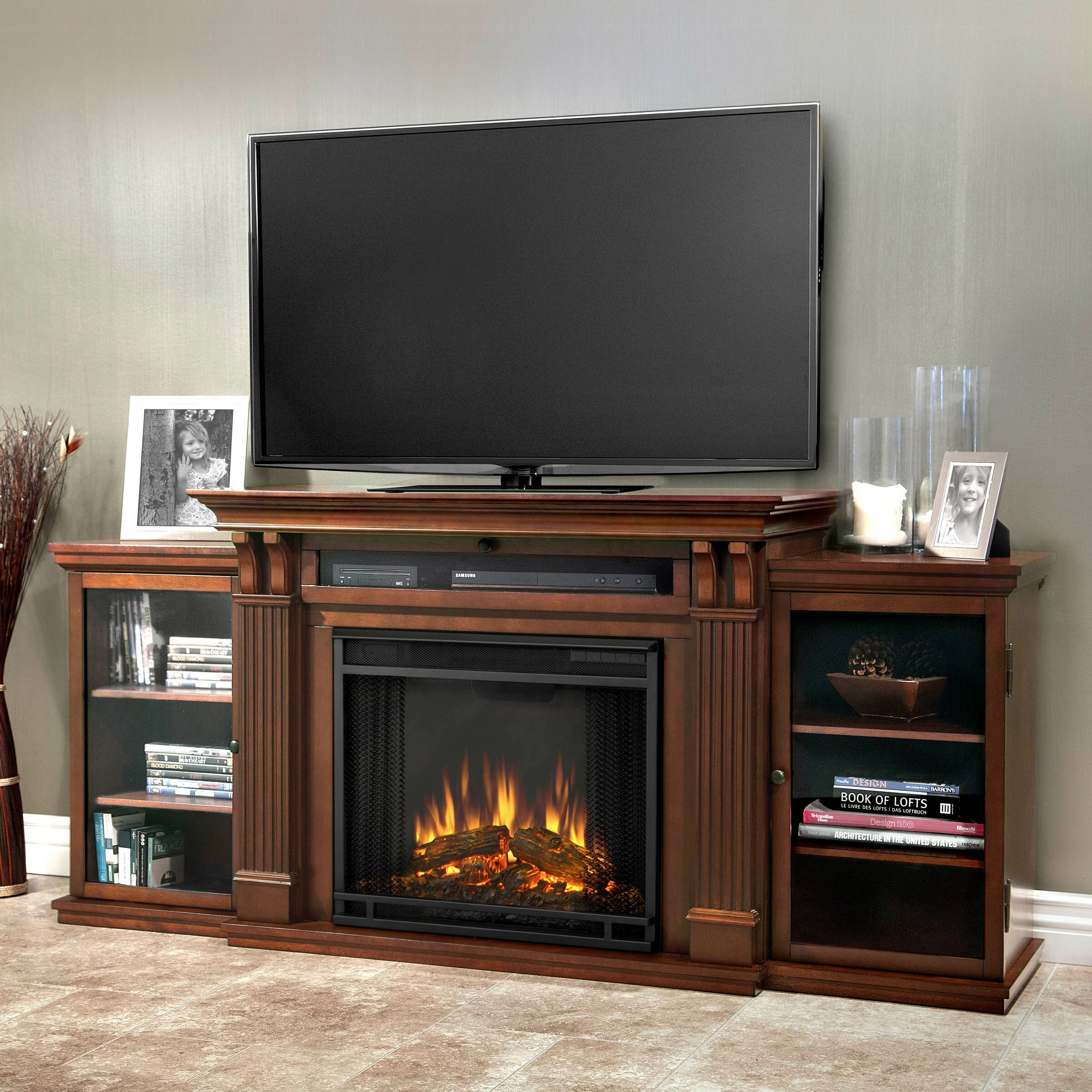 real flame calie tv stand with electric fireplace reviews wayfair. Black Bedroom Furniture Sets. Home Design Ideas