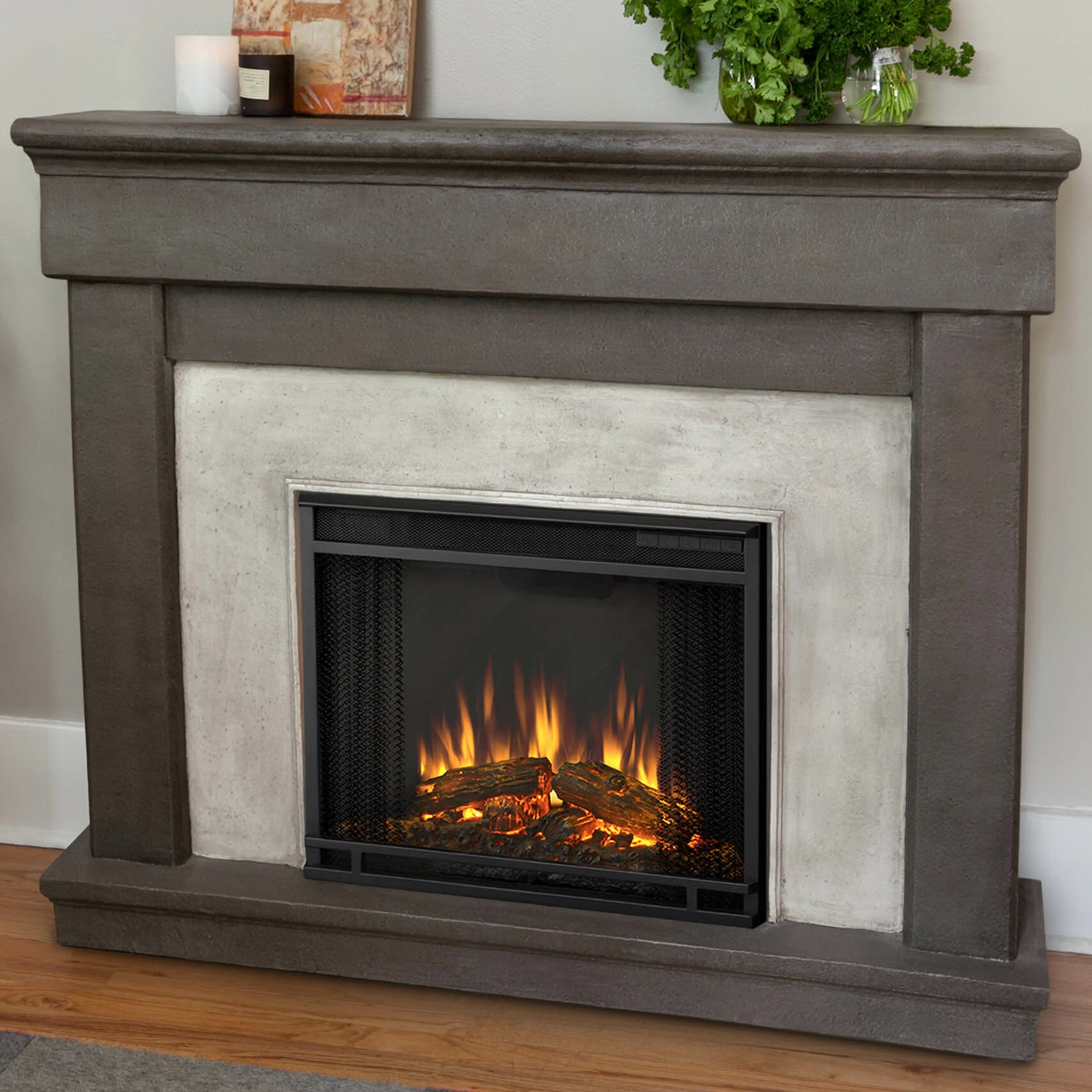 Real Flame Cast Mantel Cascade Wall Mount Electric