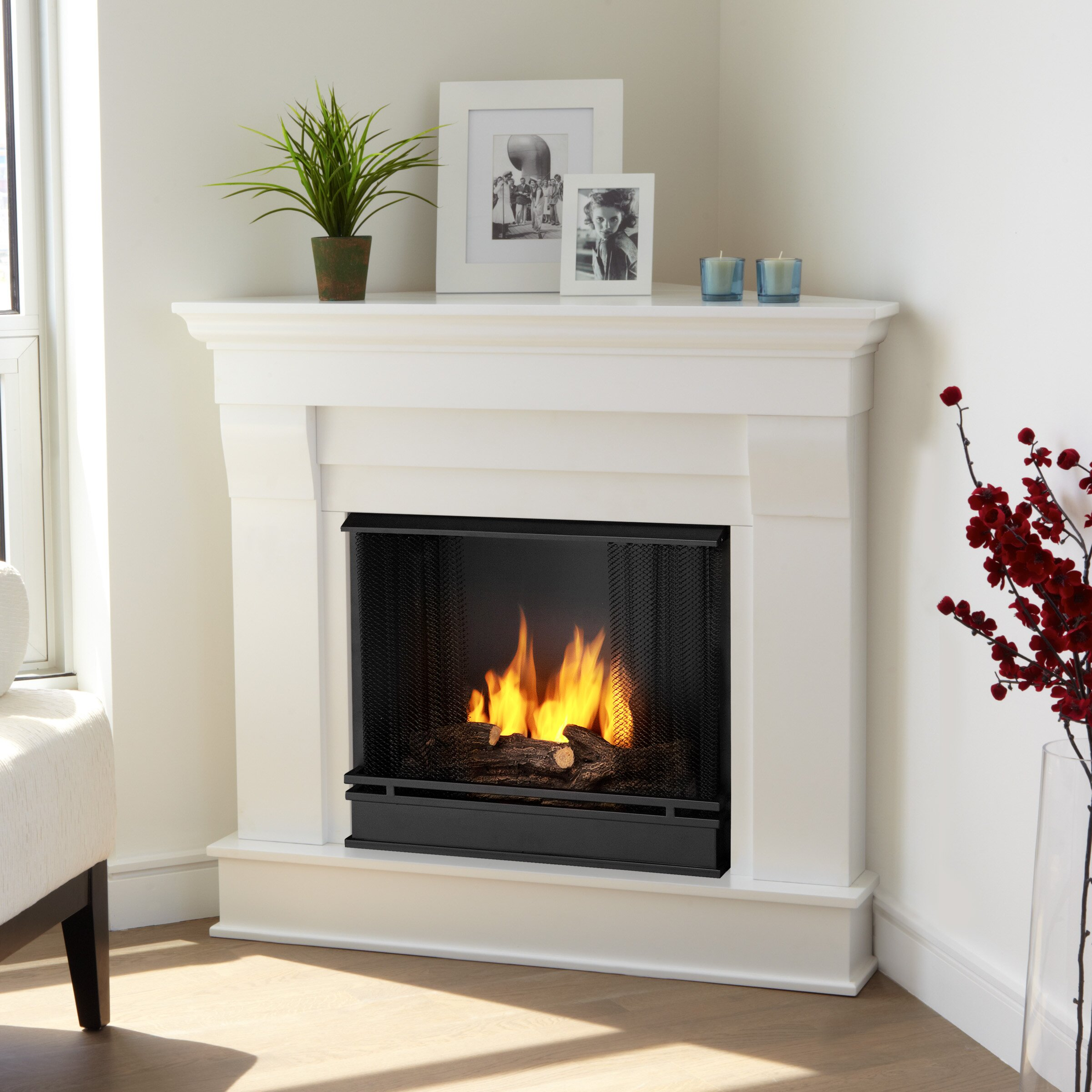Corner Hearth: Real Flame Chateau Corner Gel Fuel Fireplace & Reviews