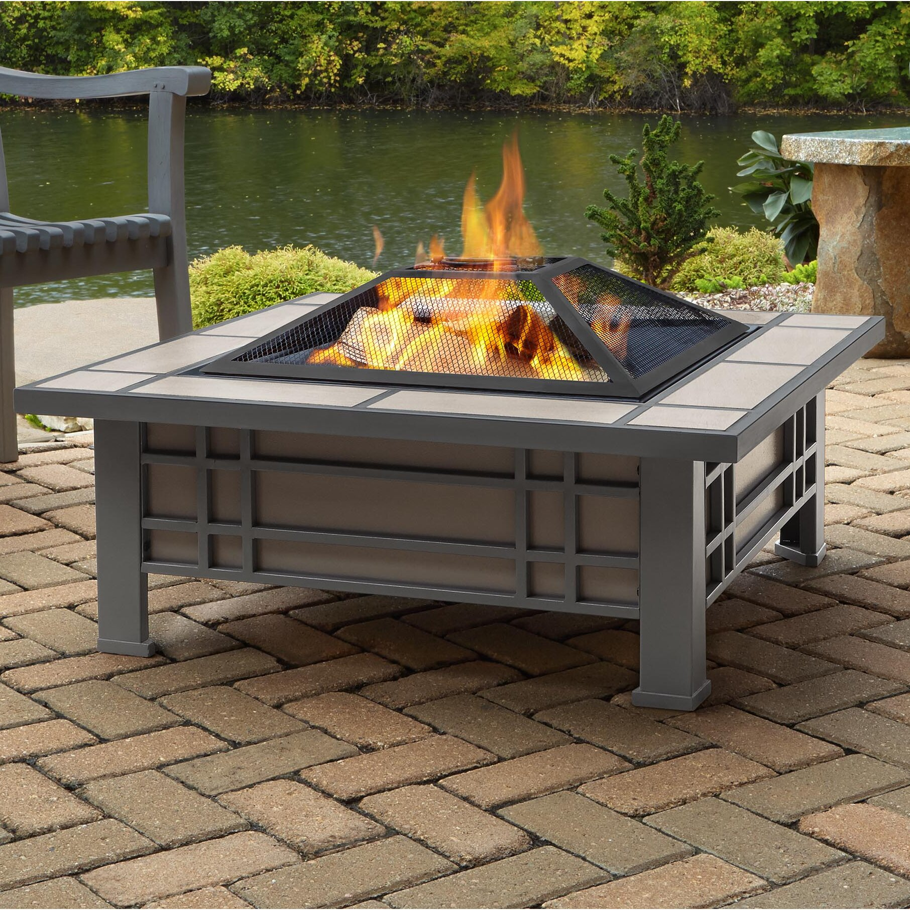 Real Flame Morrison Steel Wood Fire Pit Table Wayfair