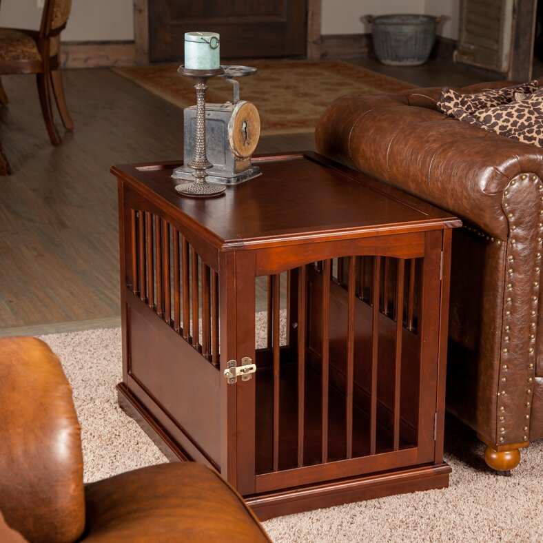 primetime petz pet crate end table in walnut reviews wayfair