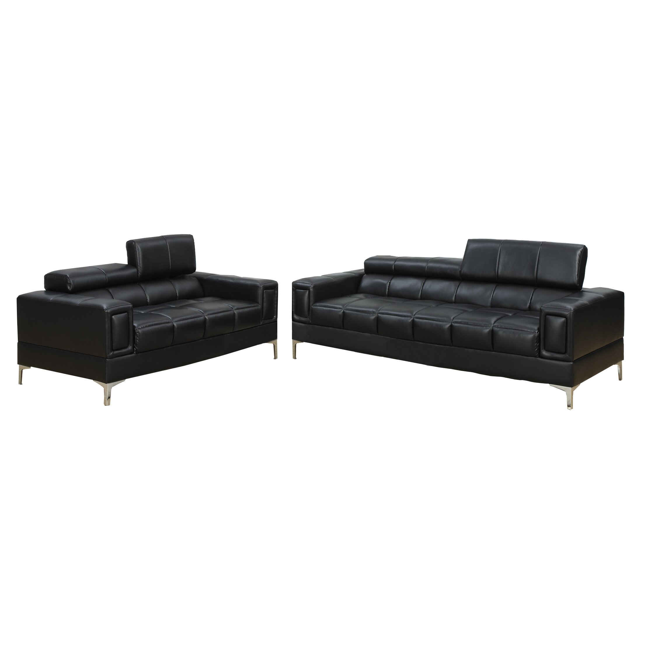 Poundex bobkona sierra 2 piece sofa and loveseat set for 2 piece furniture set