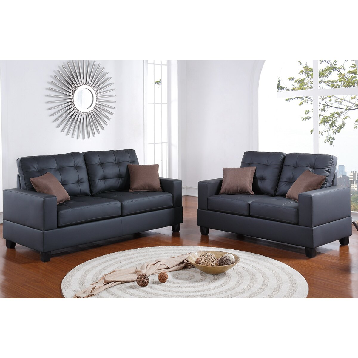 Poundex Bobkona Aria 2 Piece Sofa And Loveseat Set