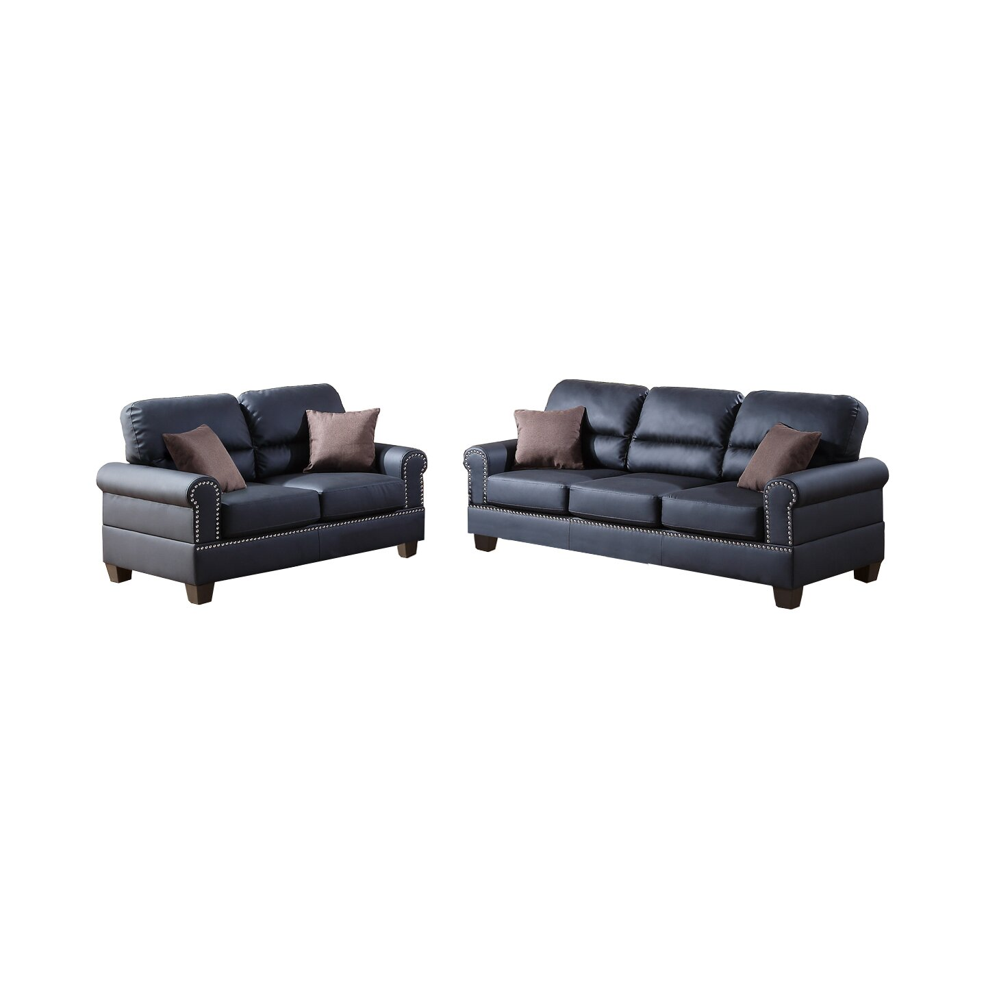 Poundex bobkona shelton 2 piece sofa and loveseat set for 2 piece furniture set
