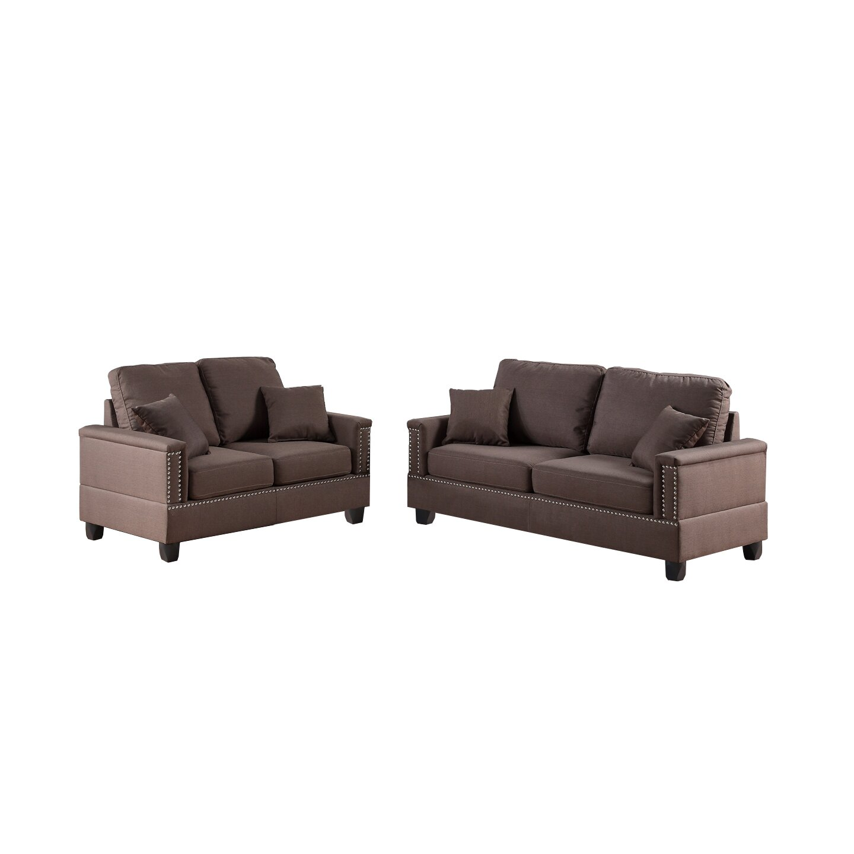 Poundex bobkona norris 2 piece sofa and loveseat set wayfair for Bobkona atlantic 2 piece sectional sofa