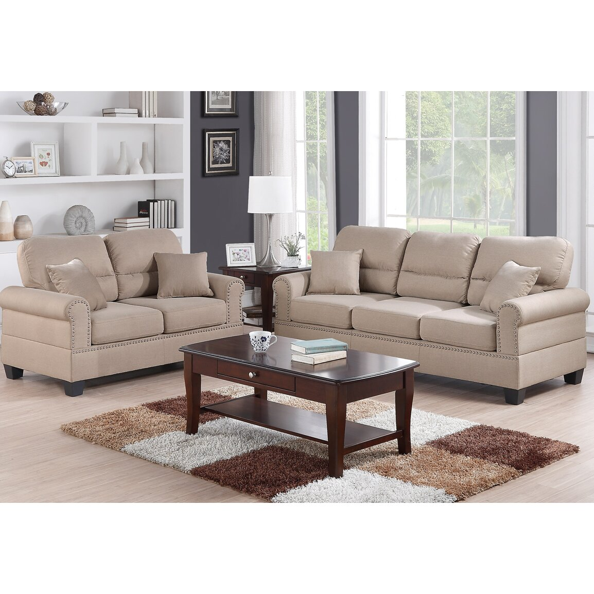 Poundex bobkona shelton sofa and loveseat set reviews for Drawing room furniture set