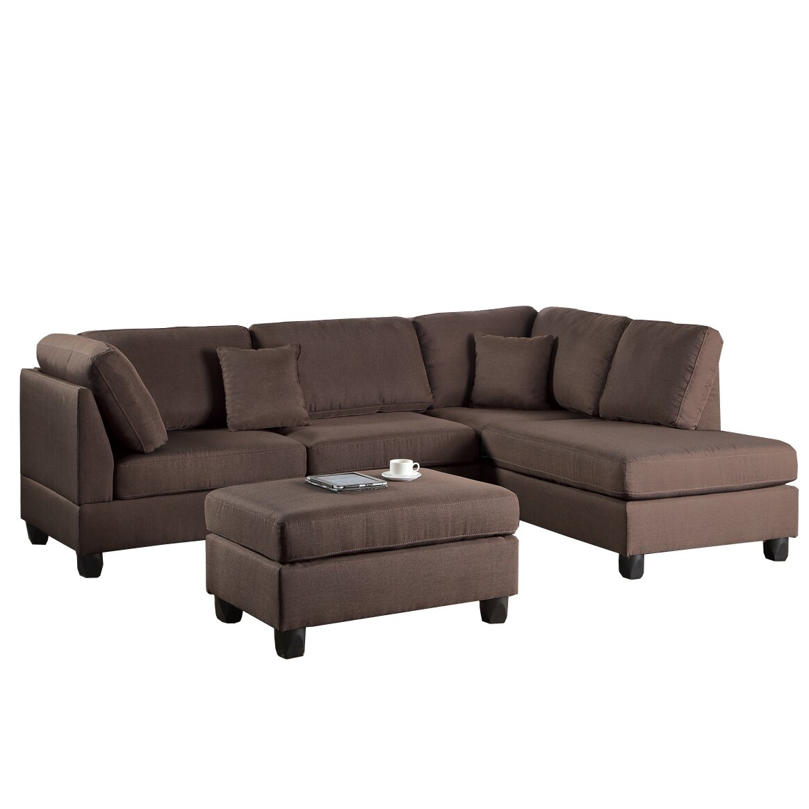 Poundex Bobkona Dervon Reversible Chaise Sectional ...