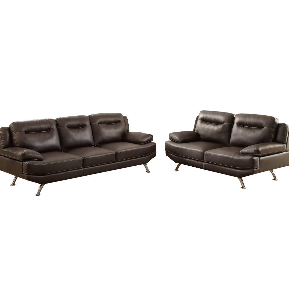 Poundex bobkona danville 2 piece sofa and loveseat set for 2 piece furniture set