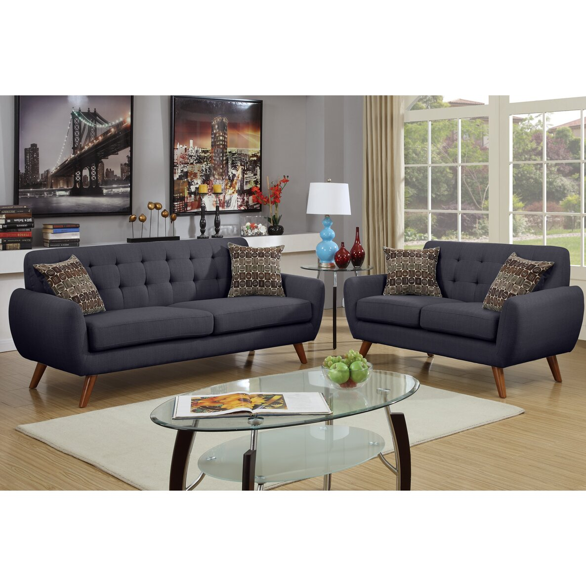 Poundex bobkona sonya 2 piece sofa and loveseat set for 2 piece furniture set