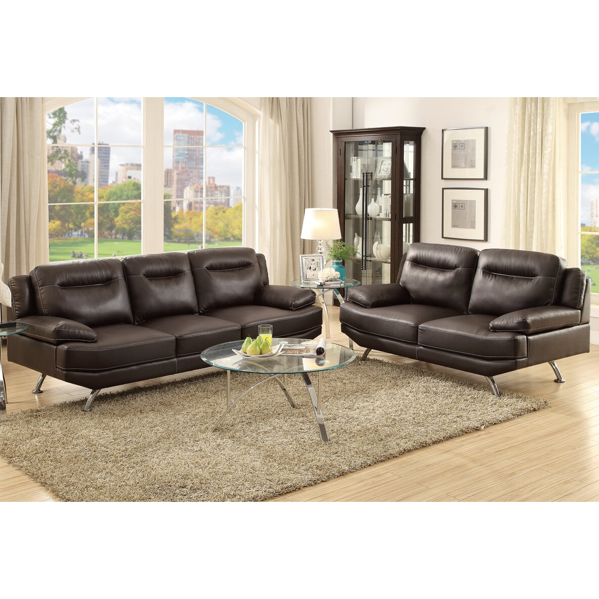 Poundex bobkona danville 2 piece sofa and loveseat set for Bobkona atlantic 2 piece sectional sofa