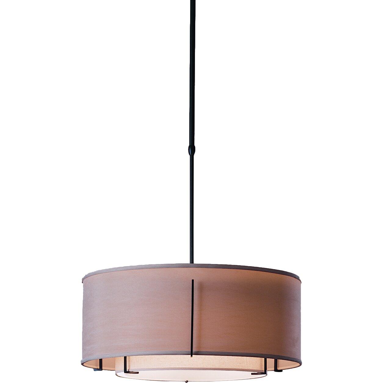 Hubbardton Forge Lamp Shades: Hubbardton Forge Exos Double Shade 3 Light Drum Pendant