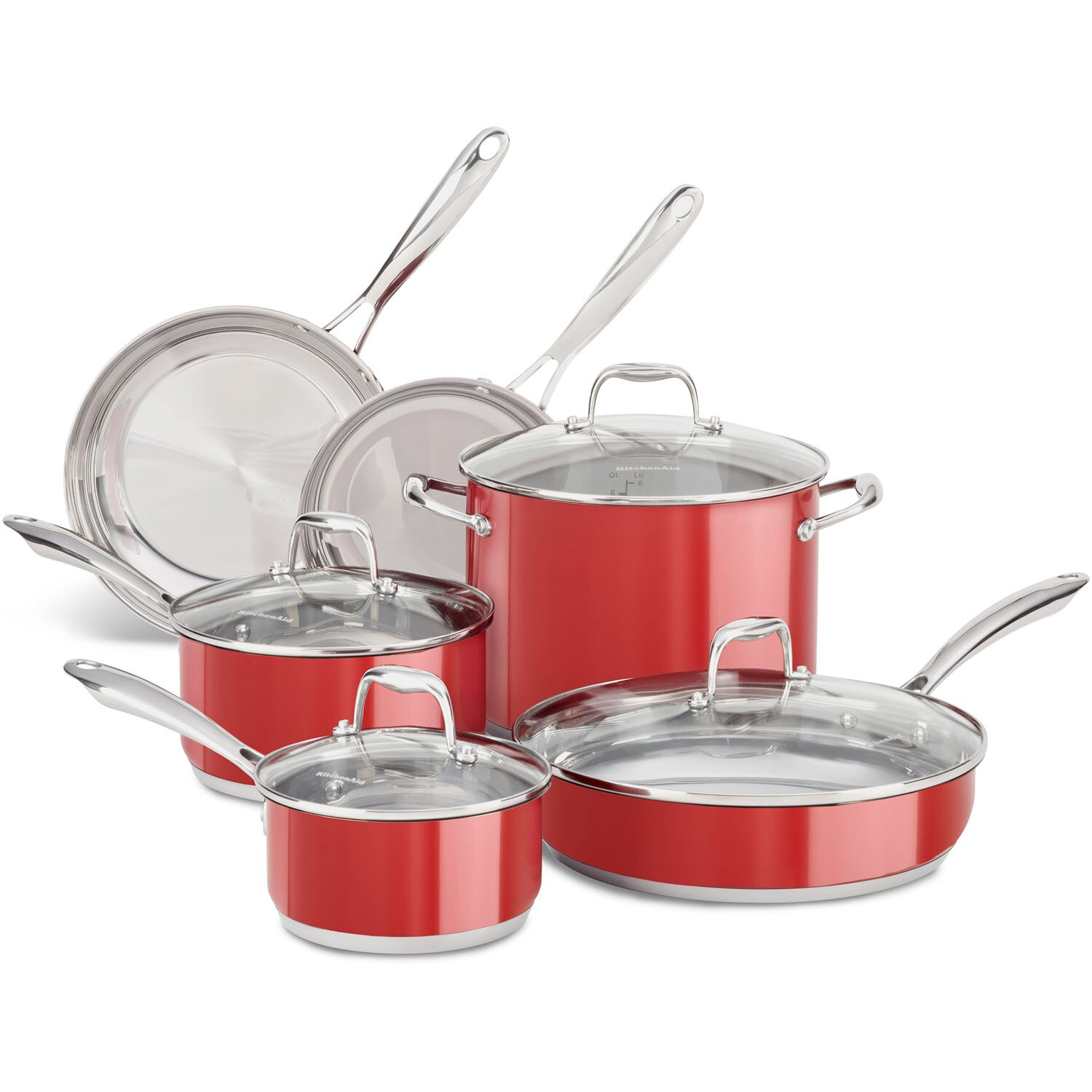Kitchenaid 10 piece stainless steel cookware set reviews wayfair - Kitchen aid pan set ...