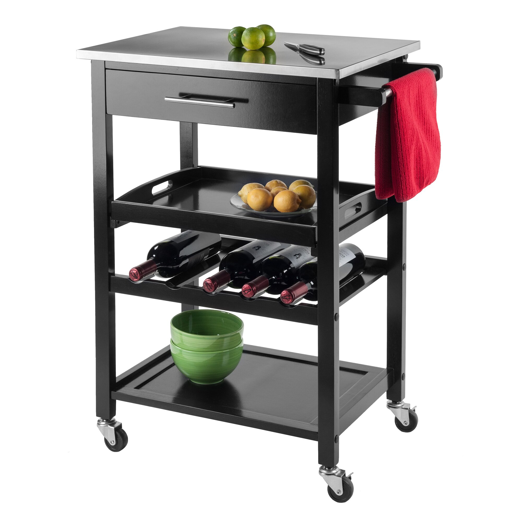 Luxury Home Anthony Stainless Steel Kitchen Cart & Reviews