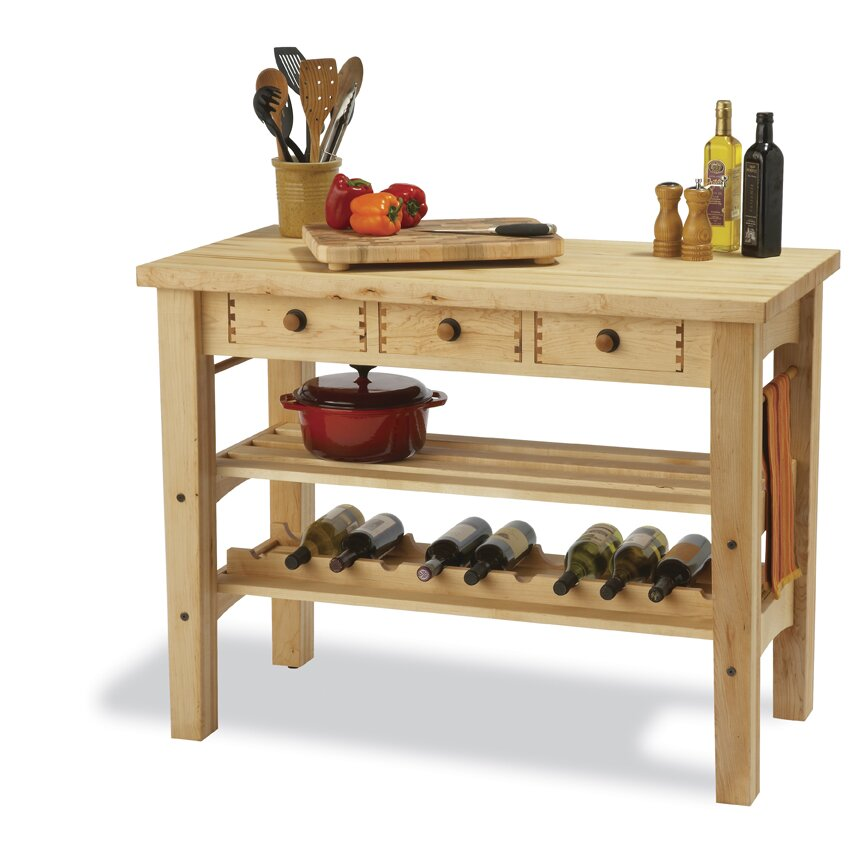 Snow river arts and crafts kitchen island with butcher for Arts and crafts kitchen table