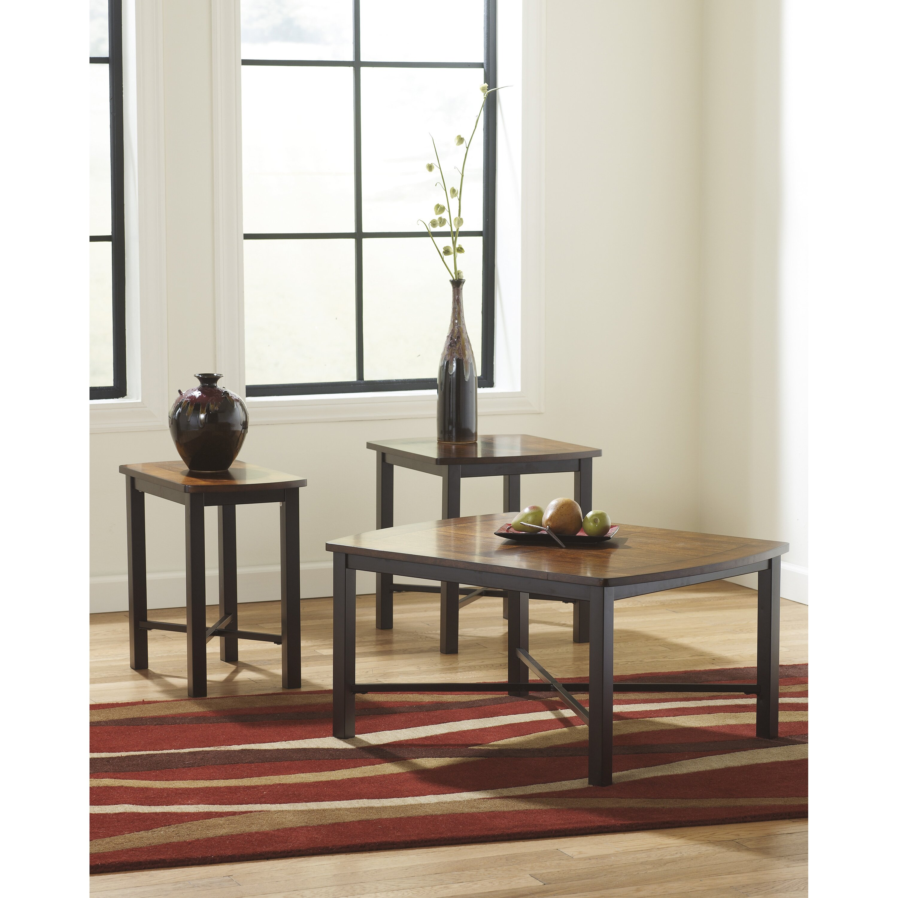 Flash furniture fletcher 3 piece coffee table set reviews wayfair One piece glass coffee table