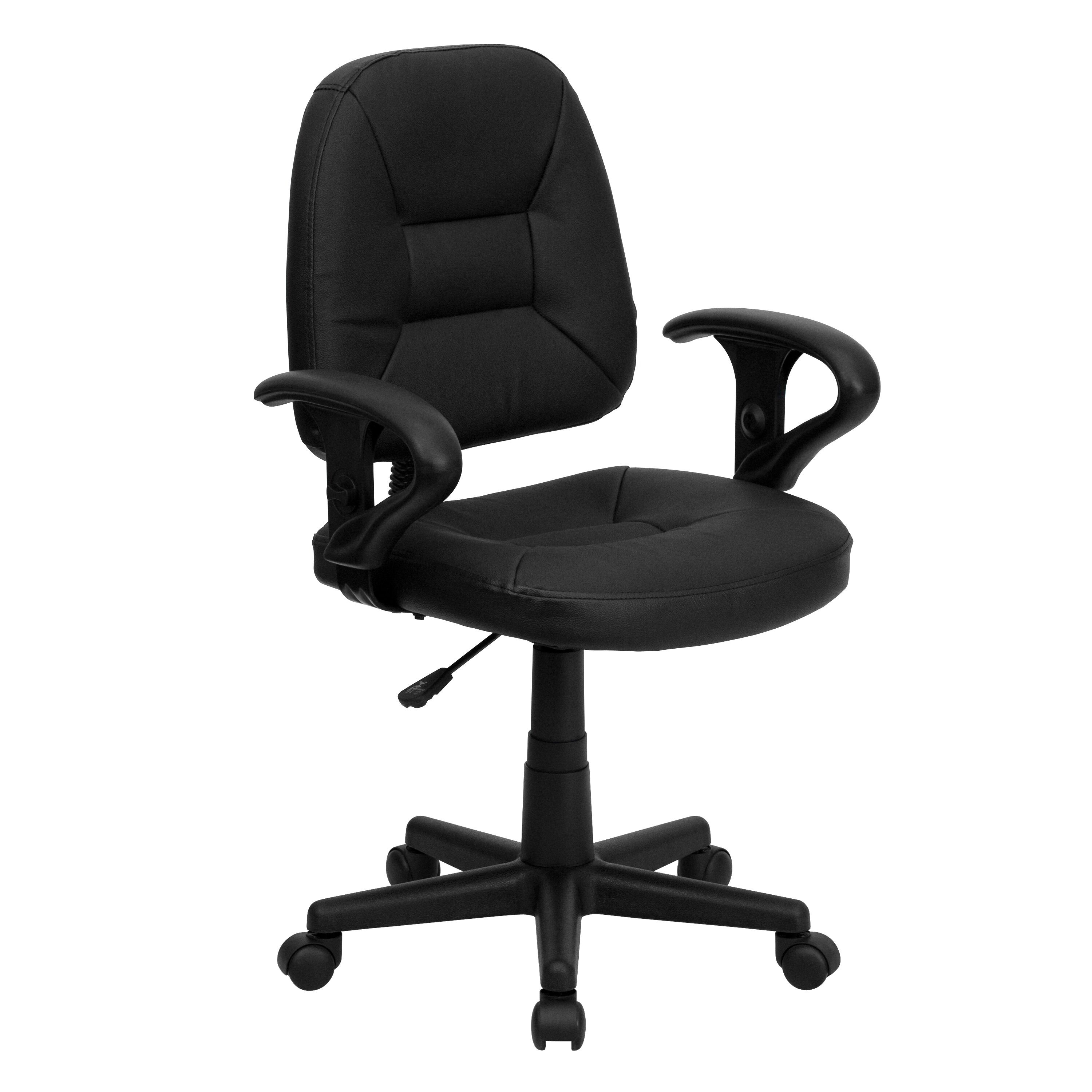 Flash Furniture Ergonomic Mid Back Task Leather Office Chair With Arms