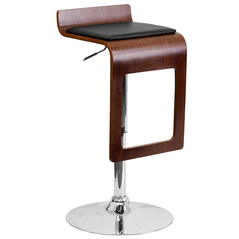Flash Furniture Walnut Bentwood Adjustable Height Swivel