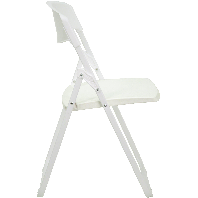 Flash Furniture Hercules Series Heavy Duty Plastic Folding Chair in White &am