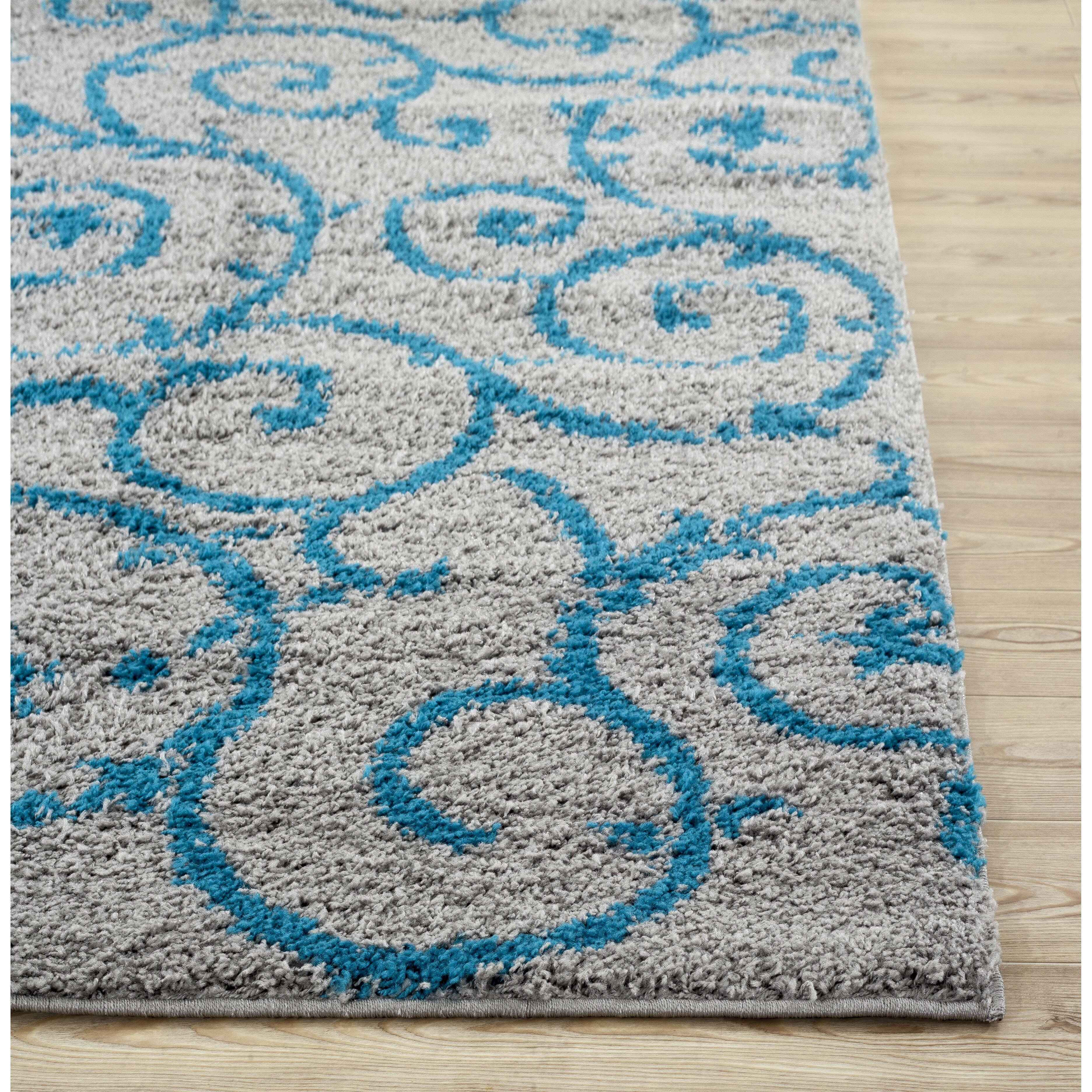 World rug gallery florida turquoise gray area rug for Turquoise area rug