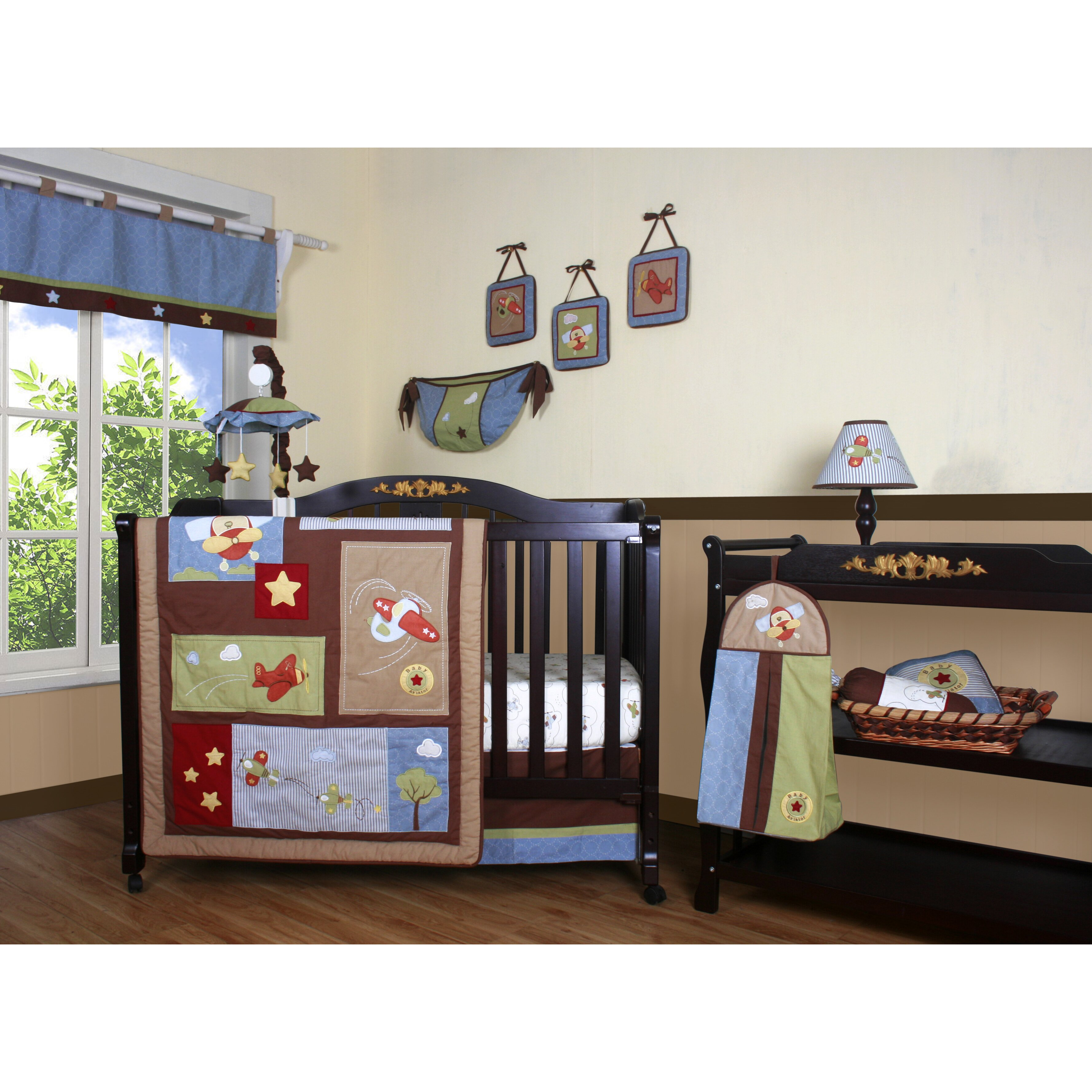 Geenny boutique airplane aviator 12 piece crib bedding set reviews wayfair - Airplane baby bedding sets ...