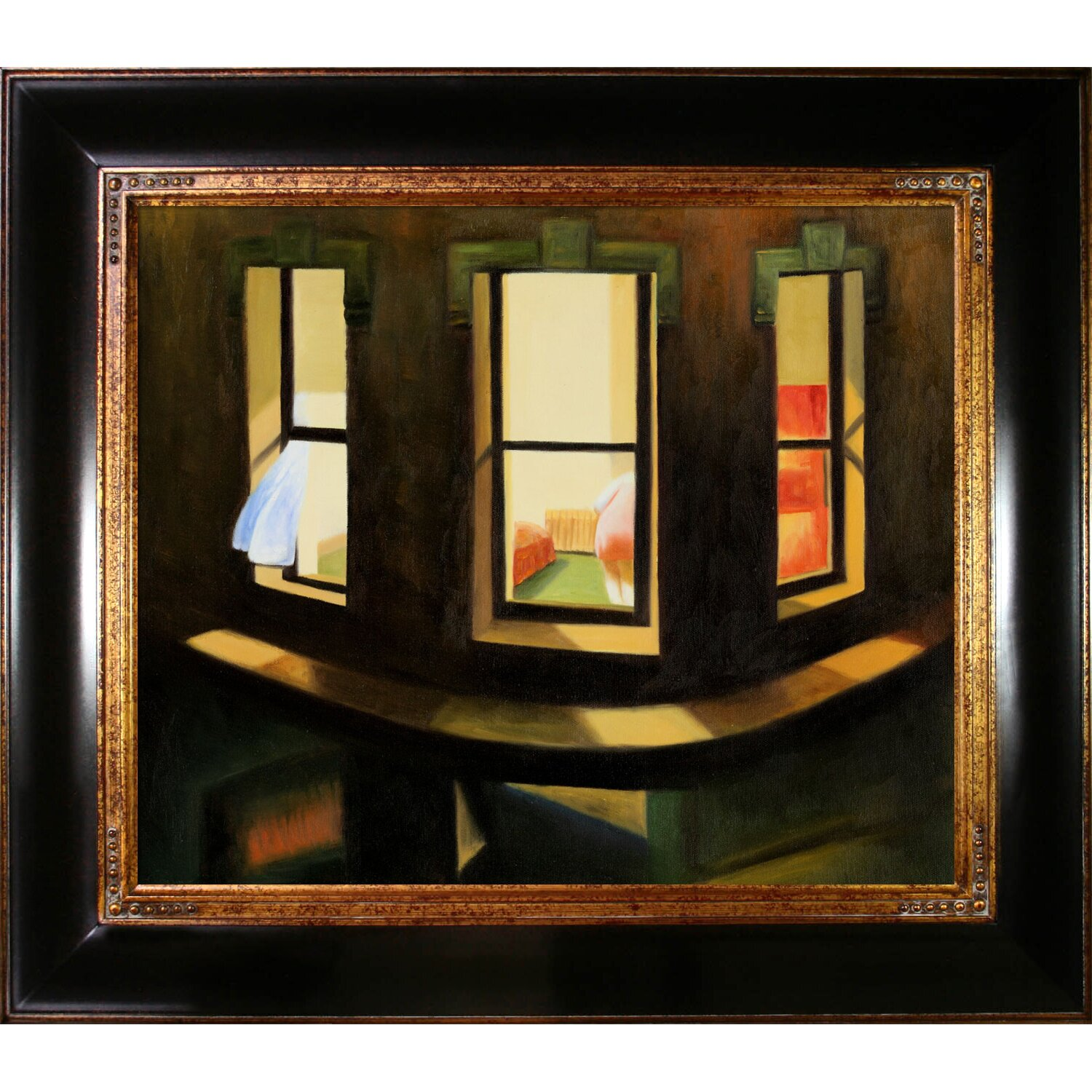Tori Home Night Windows By Edward Hopper Framed Painting