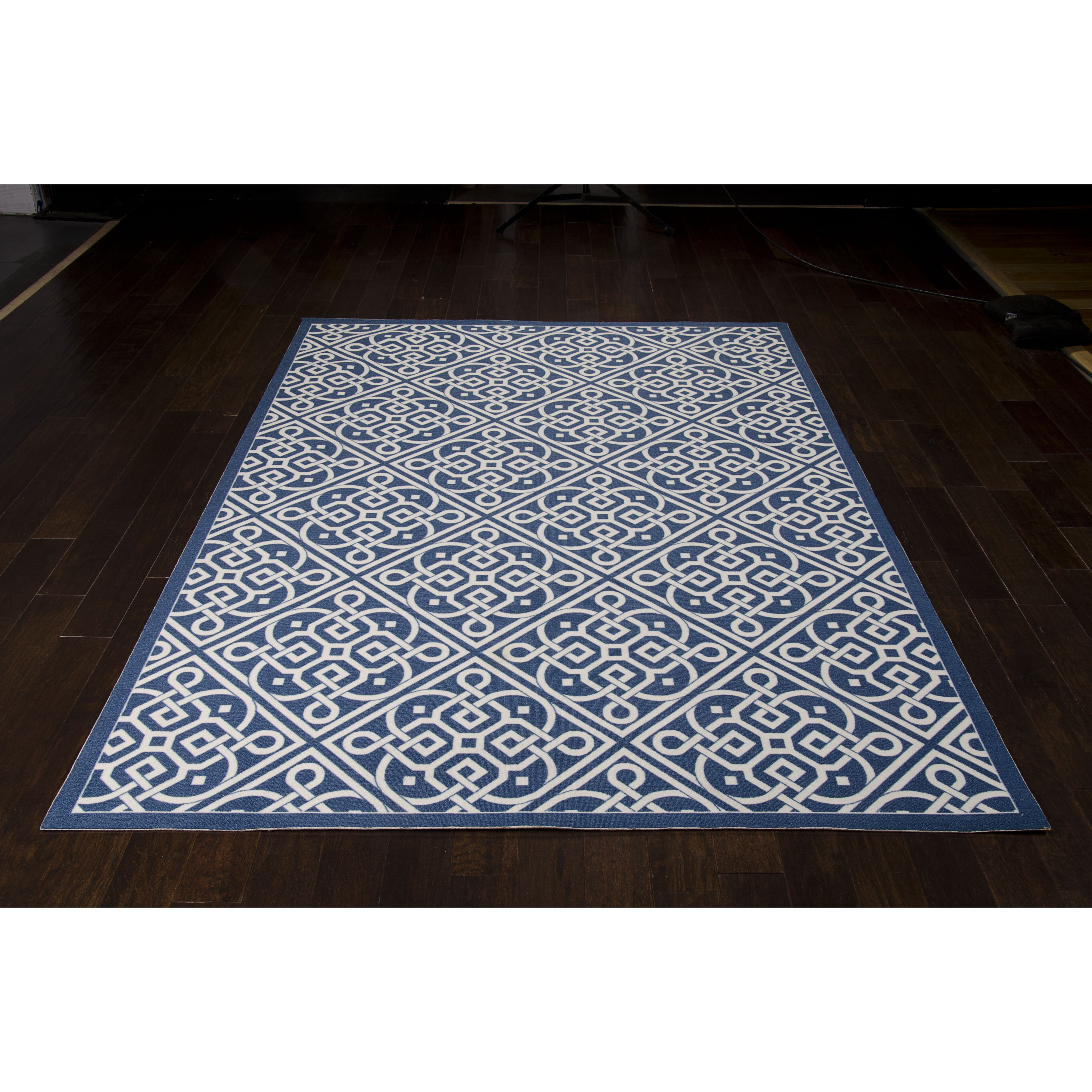 Waverly sun n 39 shade lace it up navy indoor outdoor area for Landscape indoor area rug