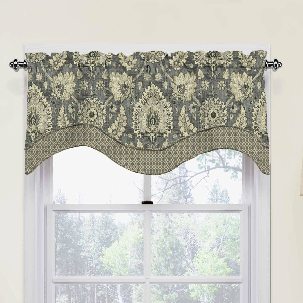Waverly clifton hall 52 scalloped curtain valance for Window valance