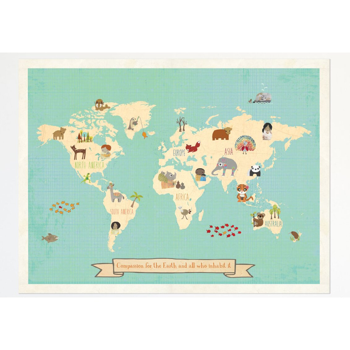 Children inspire design global compassion world map for World map wall print