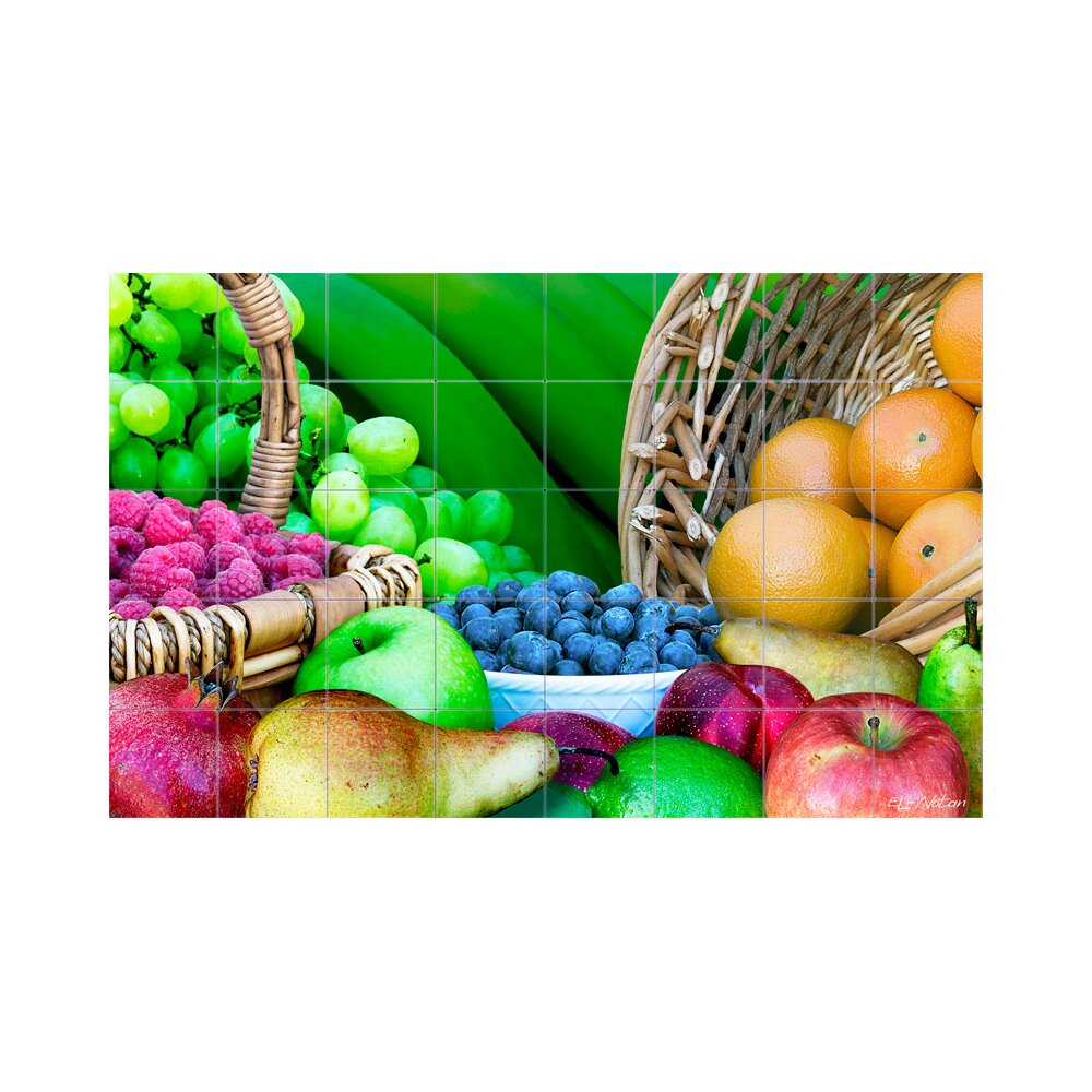 Kitchen Tiles Fruits Vegetables: LMT Tile Murals Fruits Kitchen Tile Mural In Multi-Colored