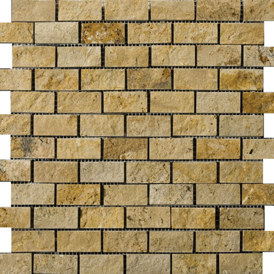 Emser tile travertine 1 x 2 12 x 12 splitface offset for Mosaic bathroom bin