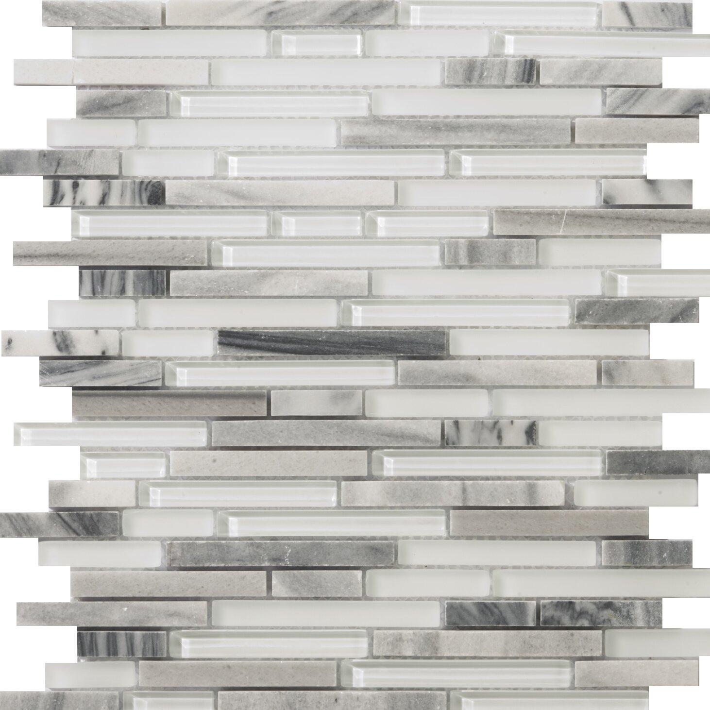 "10sf Carrara White Marble Gray Glass Linear Mosaic Tile: Emser Tile Lucente 12"" X 13"" Glass Stone Blend Linear"