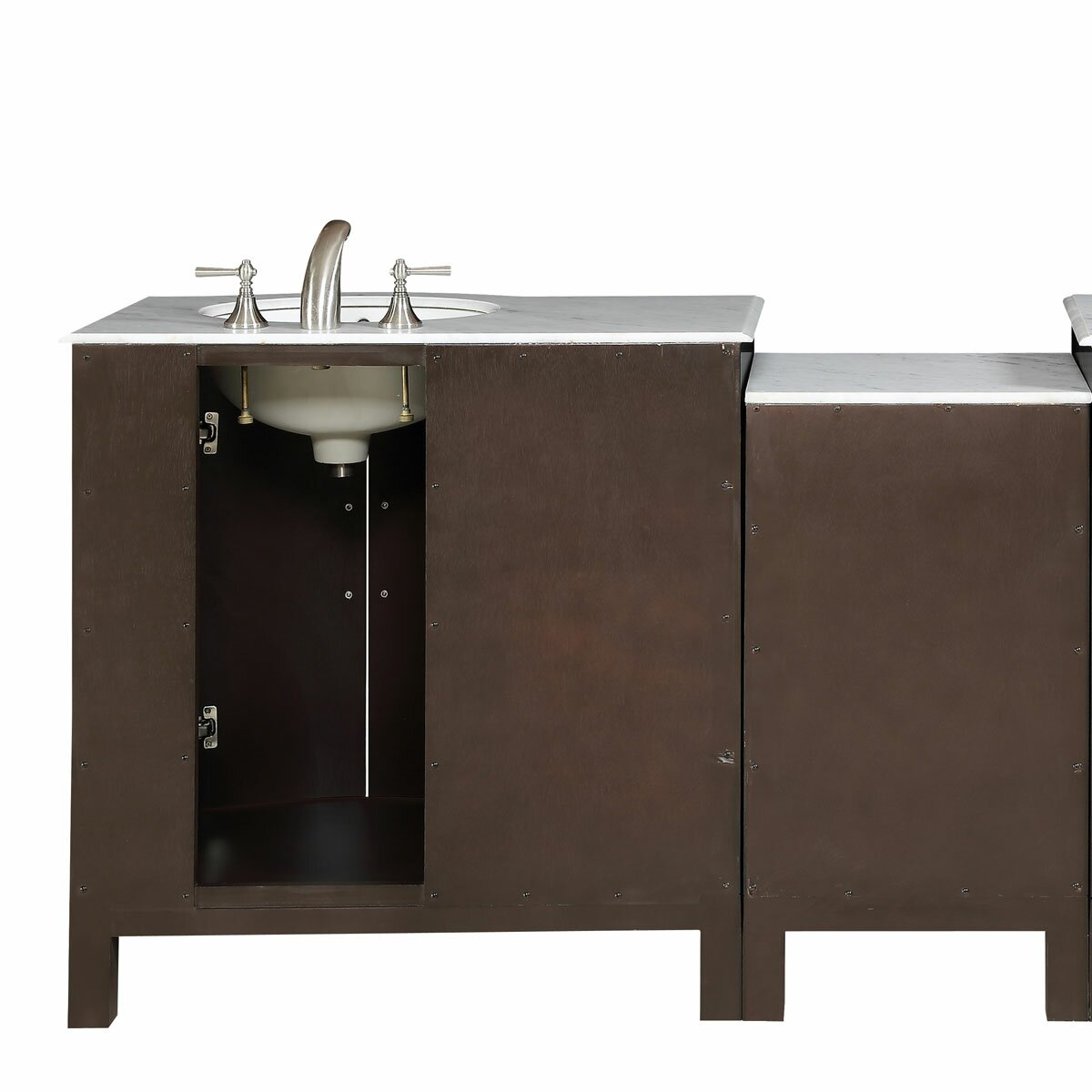 Silkroad exclusive 53 5 single right sink bathroom vanity for Bath and vanity set