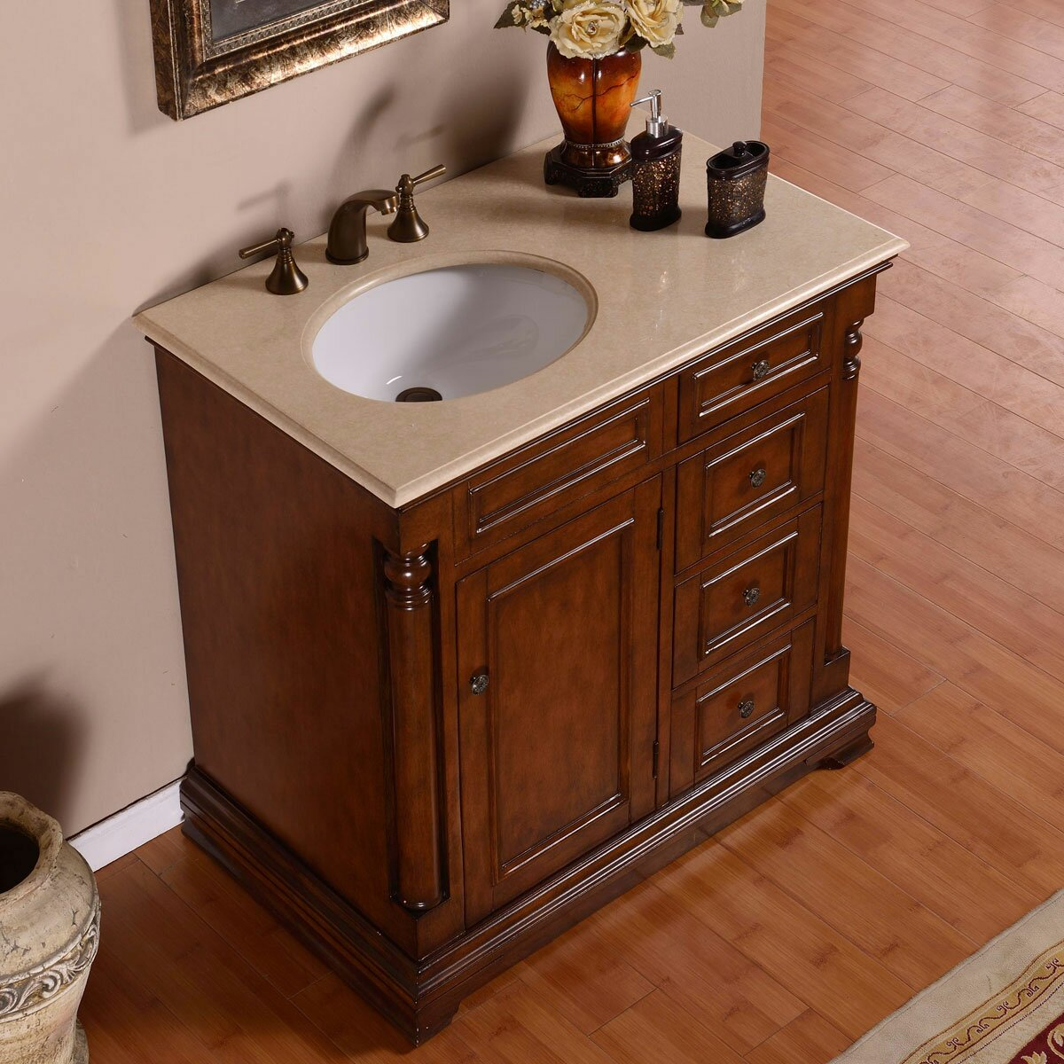 Silkroad Exclusive 36 Single Sink Cabinet Bathroom Vanity